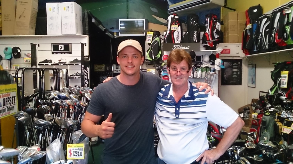 Jack Gosiewski having his Ping golf clubs adjusted to suit. Plays for South Sydney Rabittohs